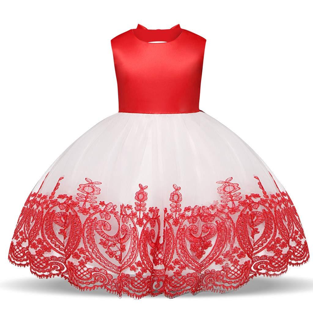 WUSIKY Baby Giels Kleid, Kind Mädchen Spitze Bowknot Prinzessin Hochzeit Leistung Formal Tutu Kleid Kleidung Minikleid Sommerkleid Elegant Lässige Rock Kinder Geschenk