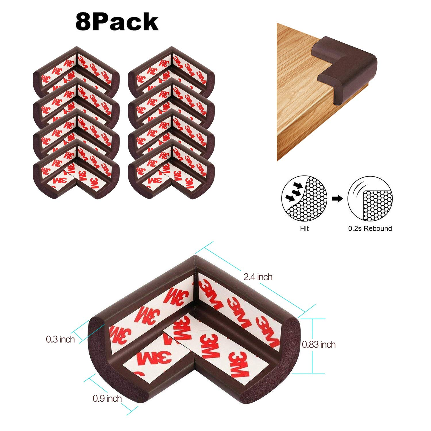 Baby Proofing Edge and Corner Guards,NBR Rubber Set for Safe Edge & Corner Guards Cushion,23Ft [19.68Ft Edge + 8 Corner],Child Safety Furniture Bumper(Brown) by COCOLi (Image #2)