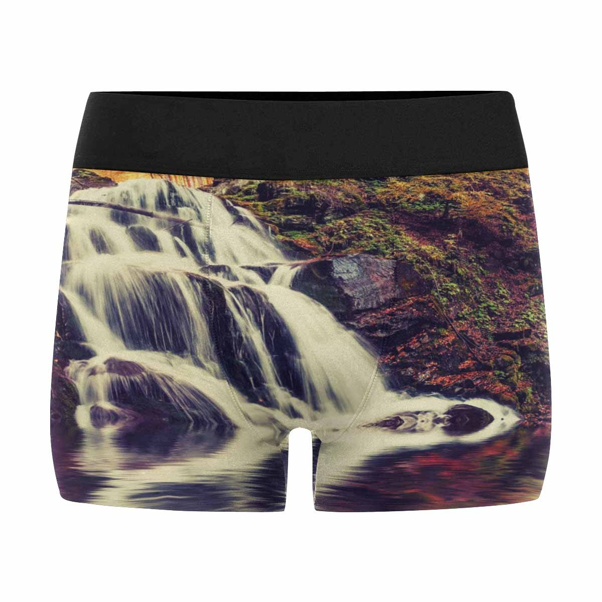 XS-3XL INTERESTPRINT Custom Mens All-Over Print Boxer Briefs Vintage Autumn Landscape Scene Decor with Waterfall and Lake