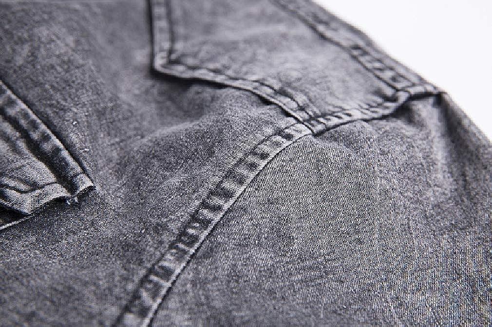 Abetteric Mens Short Sleeve Pockets Denim Turn Down Collar Tops Shirts