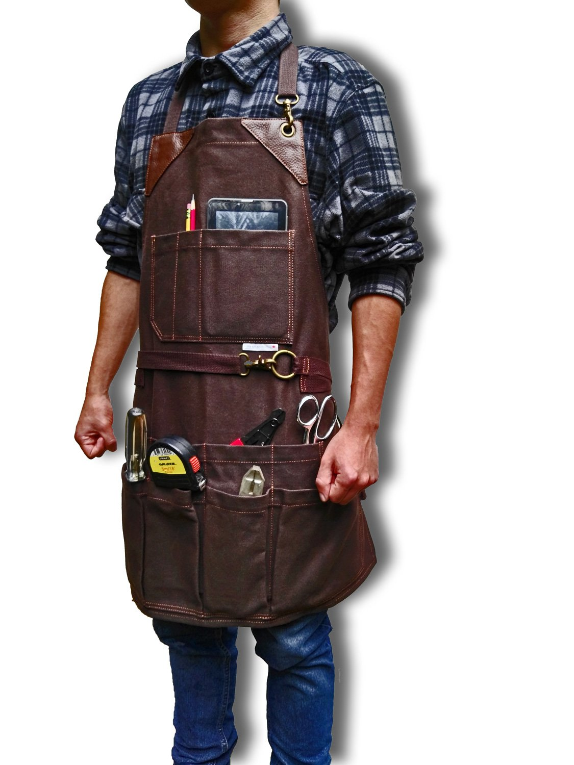 BEST CHOICE Heavy Duty Waterproof All-Purpose Bib Apron - Workshop Waxed Canvas - 11x Pockets & 2 Shackles for Accessories & Tools - Adjustable Neck and Waist Strap - Size S-XXL for Men & Women.