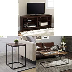 Walker Edison Furniture Company Simple Farmhouse Wood Stand for TV with Square Wood Side Accent Small End Table, 16 Inch and WE Furniture Rectangle Coffee Accent Table, 42 Inch, Walnut Brown