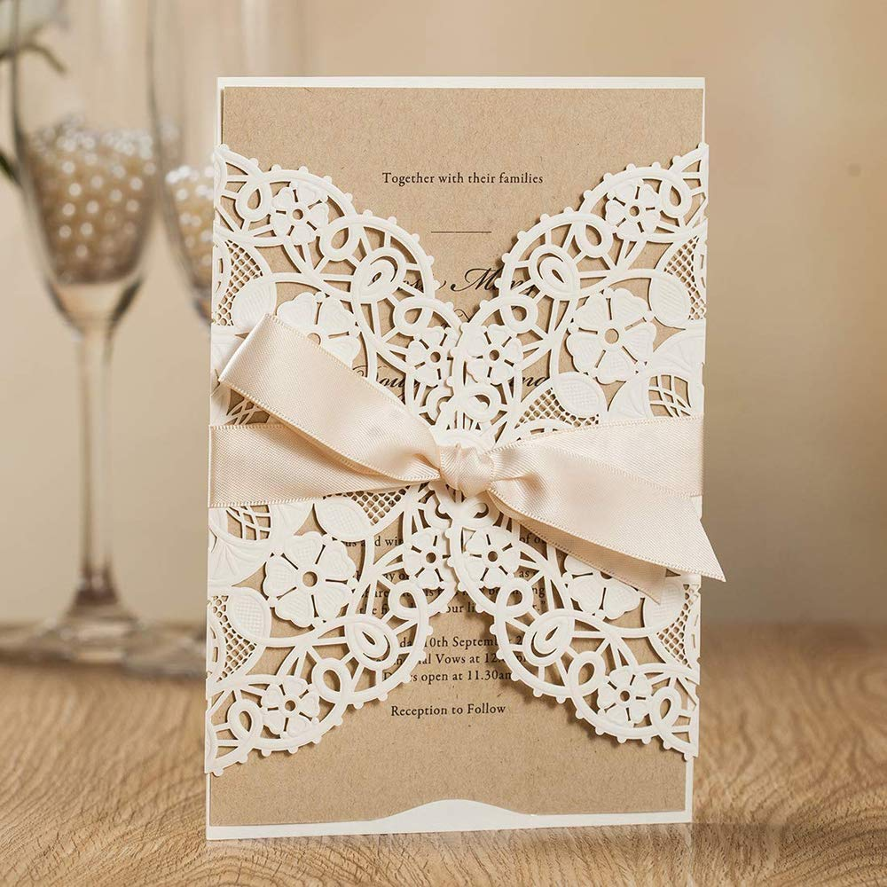 Jofanza 50x White Laser Cut Wedding Invitations Kits with Ribbon Hollow Flowers Engagement Invites Cards for Marriage Bridal Shower Birthday Party Anniversary Quinceanera (Set of 50 Pieces)