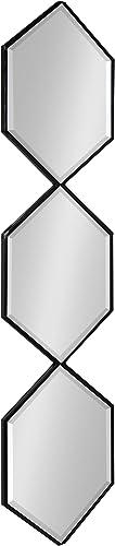 Kate and Laurel Roycen Modern Narrow Geometric Shaped Metal Accent Wall Mirror, 42 x 10 Black