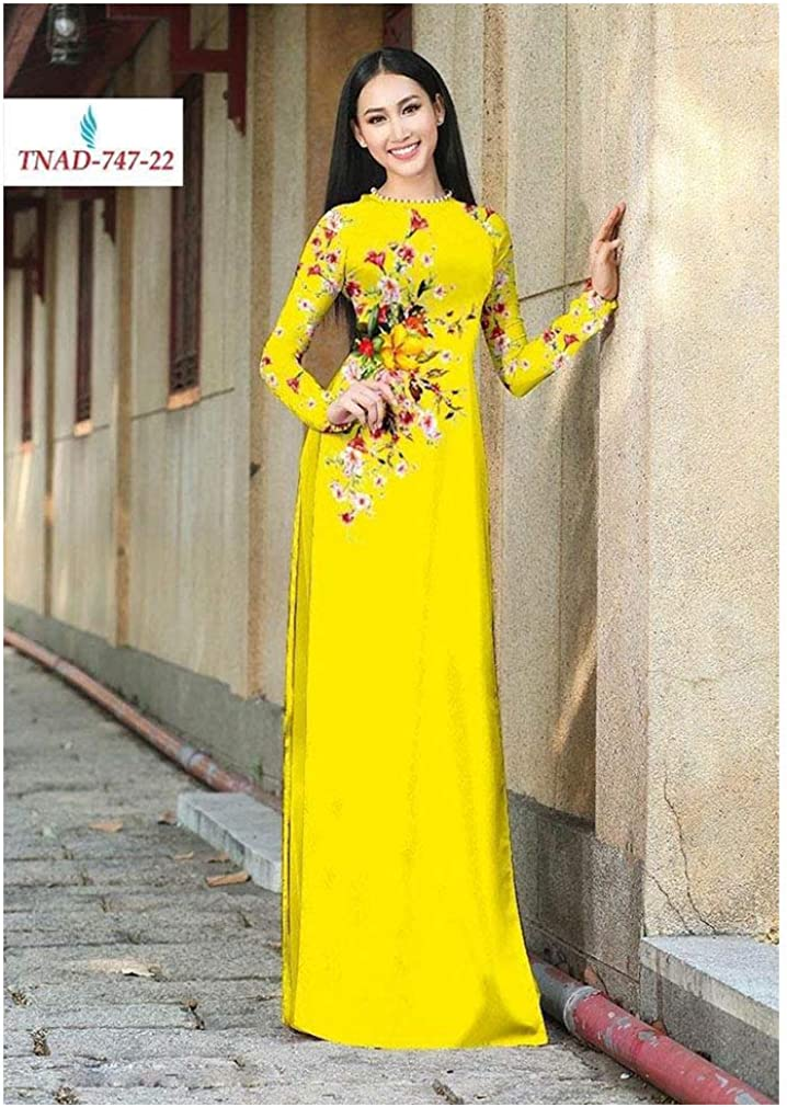 Silk 3D ADVN0405202208 Traditional Vietnamese Long Dress Collections with Pants Ao Dai