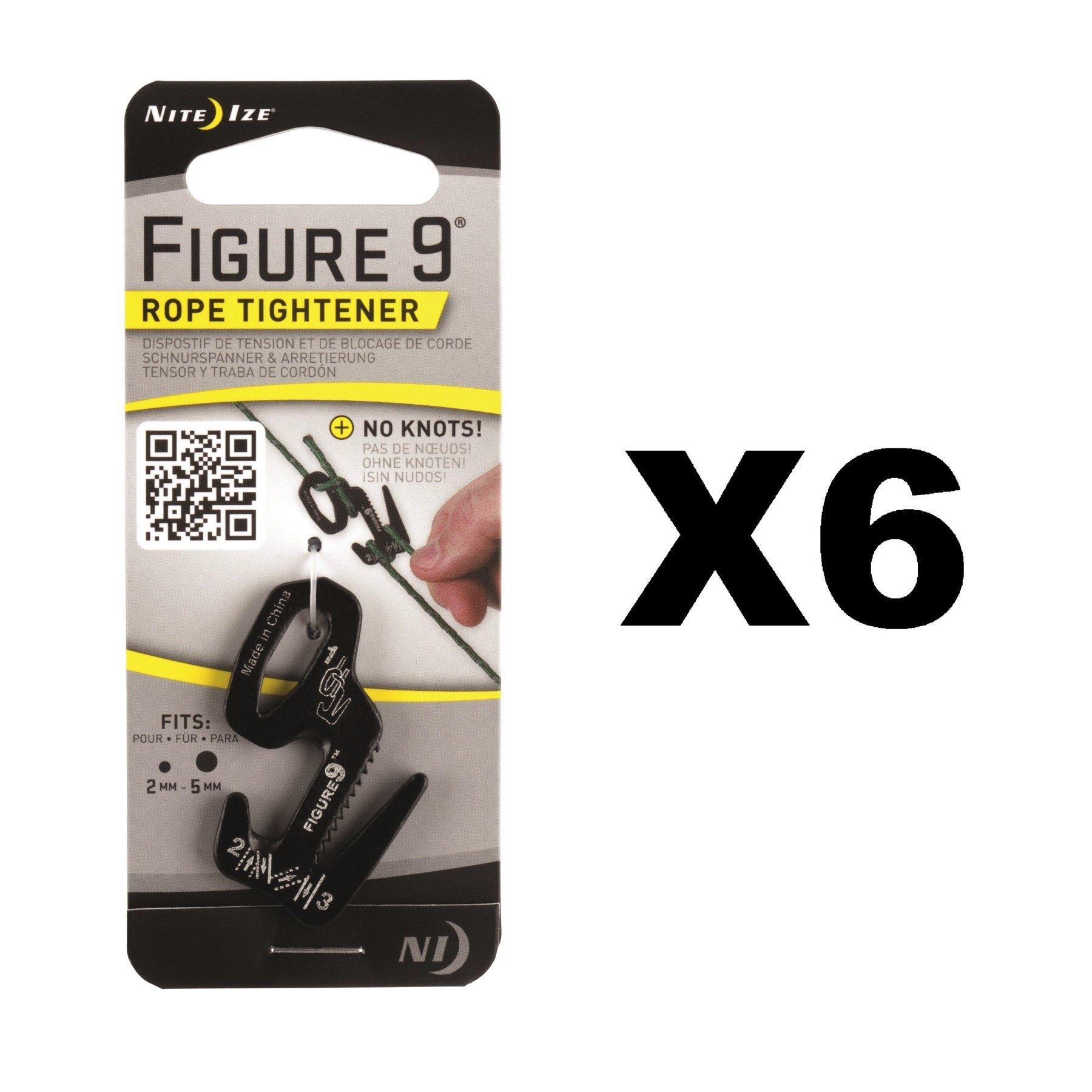 Nite Ize Figure 9 Rope Tightener Small Black Aluminum Tie Down Tool (6-Pack)