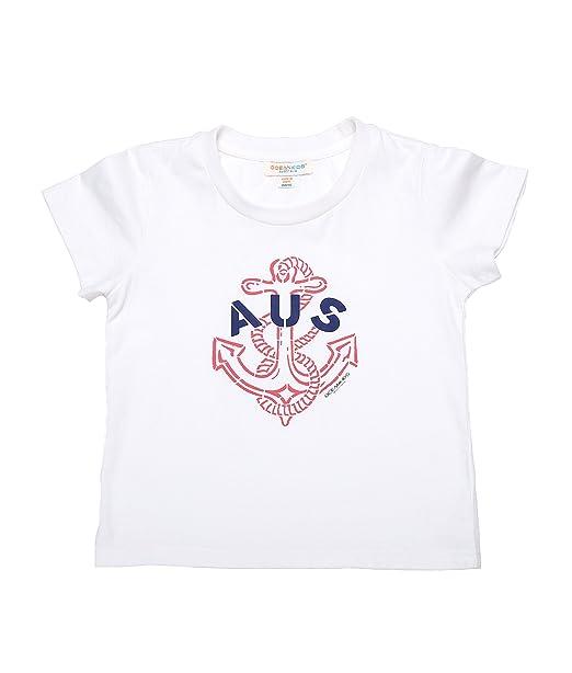 Oceankids Niñass 100% Algodón orgánico Algodón suave O-collar de estilo camiseta con patrón