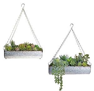 ShabbyDecor Galvanized Metal Hanging Trough Flower Planter Wall Storage Set of 2
