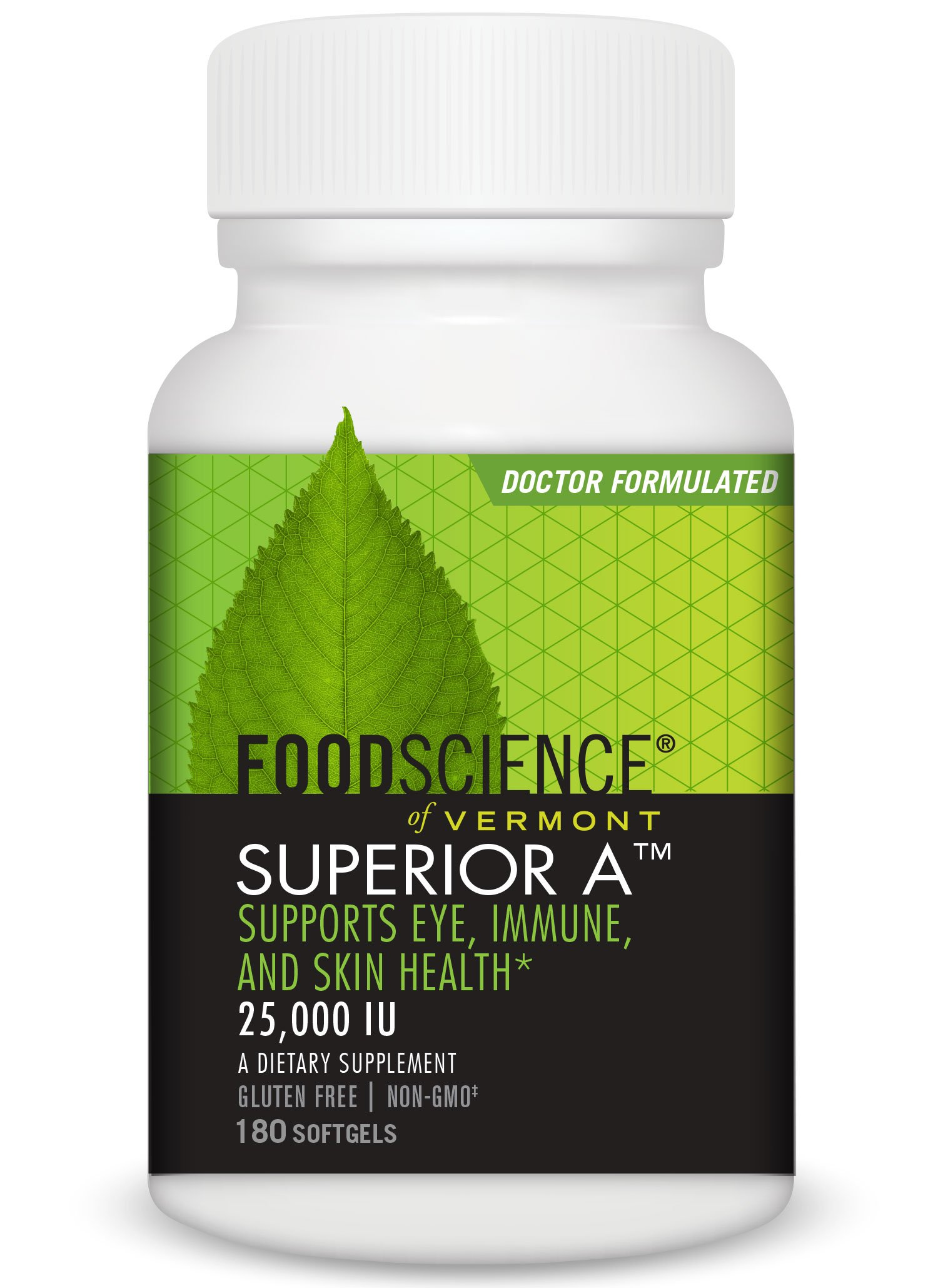 FoodScience of Vermont Superior A, Beta Carotene Daily Supplement, 25,000 IU Soft Gels, 180 Count