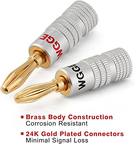 24k Gold Dual Screw Lock Speaker Connector 12 Plugs 6 Pairs WGGE WG-009 Banana Plugs Audio Jack Connector