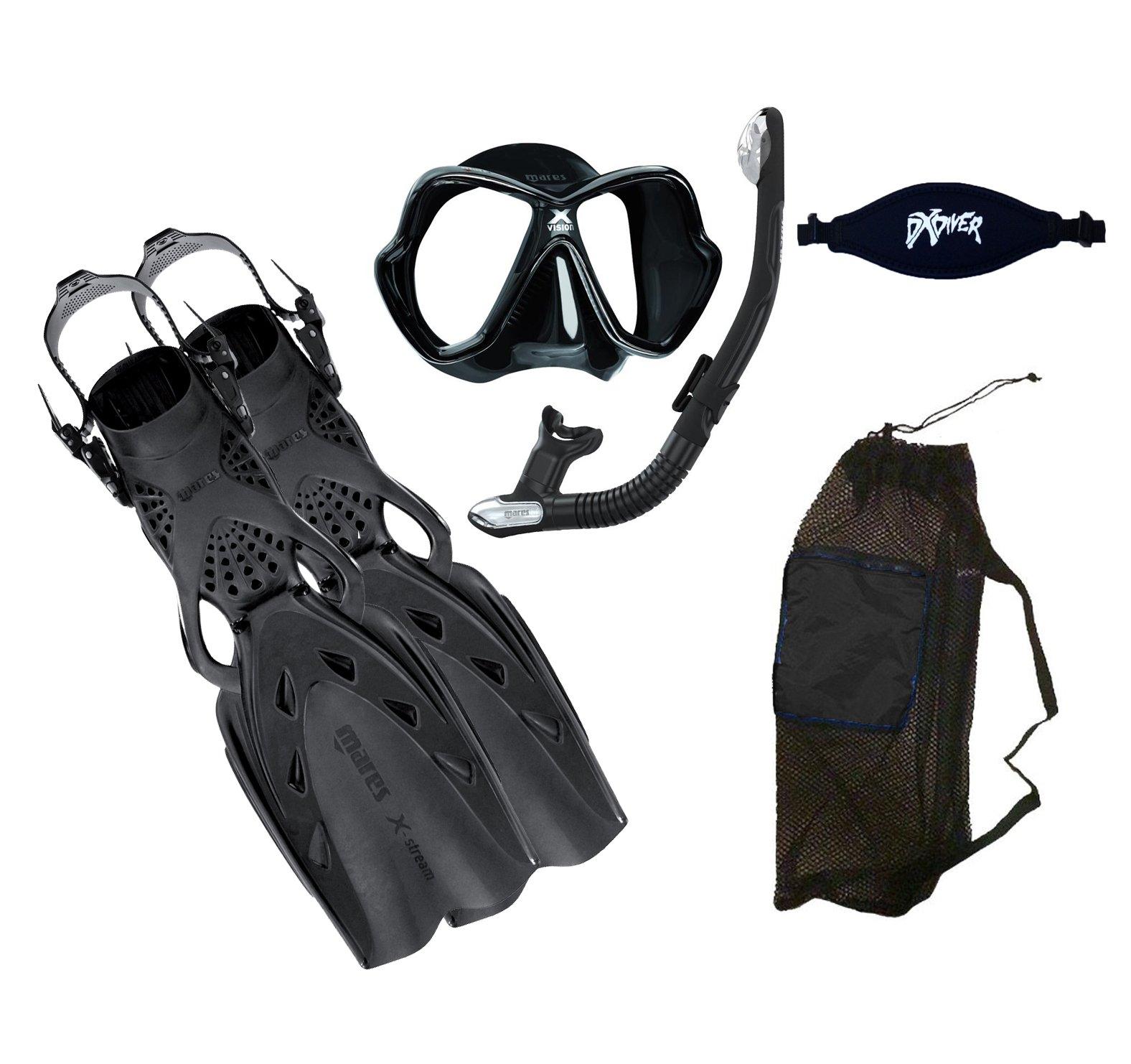 MARES X-Stream Fins X-Vision LiquidSkin Mask Ergo Dry Snorkel DXDiver Mask Strap Mesh Gear Bag Snorkeling Scuba Diving Size Regular, Black