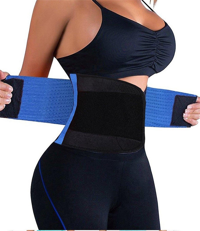 VENUZOR Waist Trainer Belt for Women - Waist Cincher Trimmer - Slimming Body Shaper Belt - Sport Girdle Belt (UP Graded) (Blue, Small)