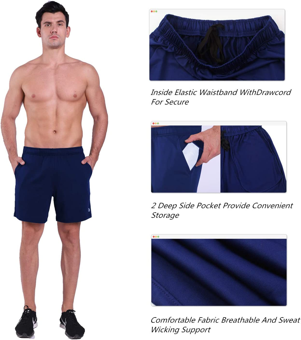 Navy Blue Mens 7 inch Running Workout Shorts With Pockets,Breathable Quick Dry Gym Active Shorts Athletic Shorts for Training,Jogging,Running,cycling S Ogeenier