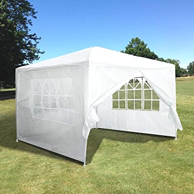 White Graden Canopy 10'x10' Outdoor Canopy Party Wedding Tent White Pavilion w/4 Side Walls : Garden & Outdoor
