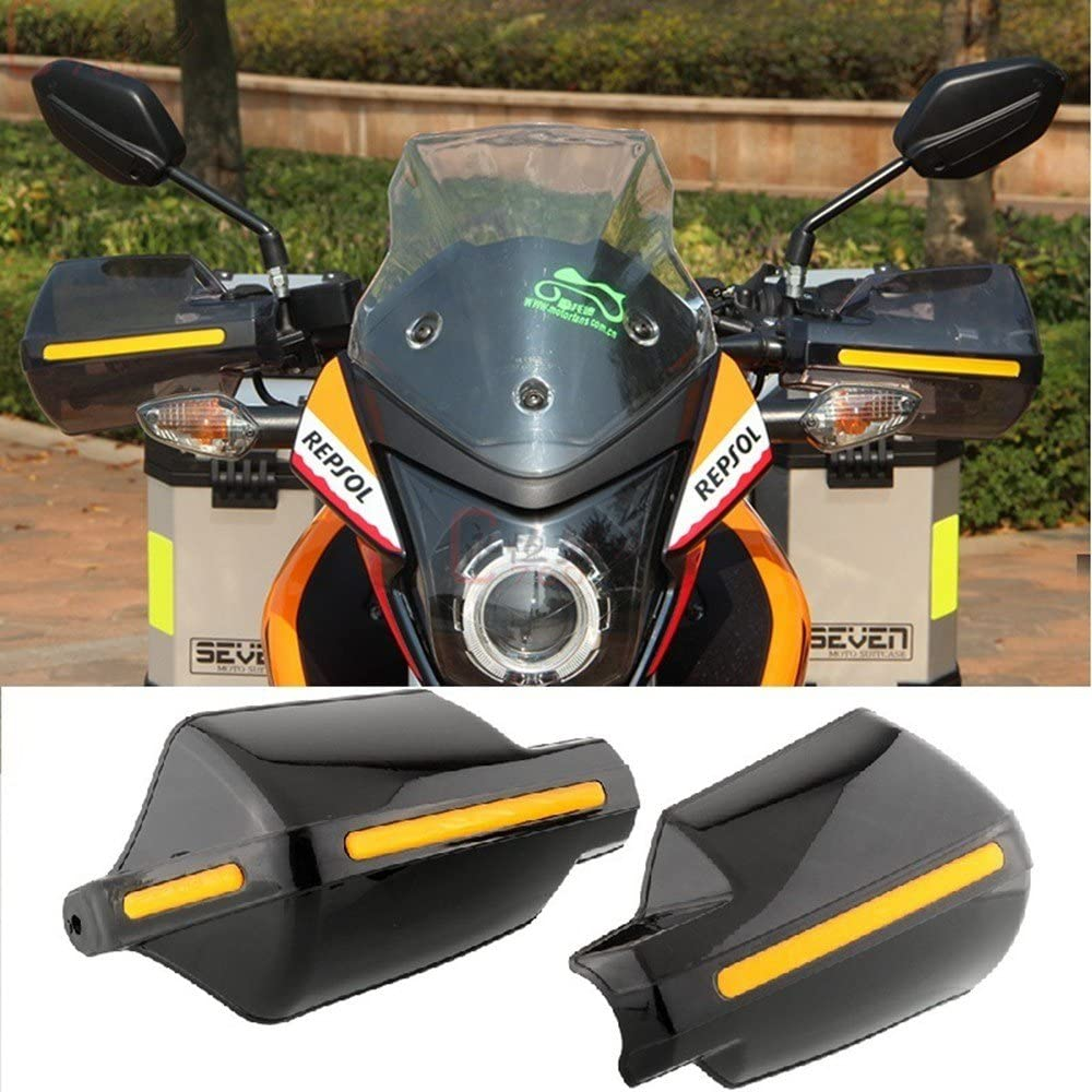 Anauto 1 Pair Universal Handlebar Hand Protector with LED Light Motorcycle Hand Guards Black