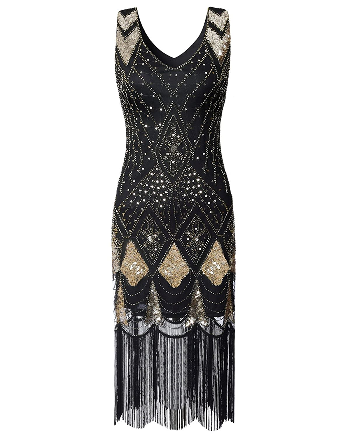 1920s Evening Dresses & Formal Gowns Women Flapper Dress 1920s Vintage - Double V Neck Gatsby Dress Fringed Art Decor Fancy Dress for Prom 20s Parties vintagepost $27.99 AT vintagedancer.com