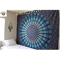 TIGER EXPORTS Cotton Single Bedsheet Wall Hanging Mandala Tapestry Throw Bohemian Decor (Twin Size_Multicolour)
