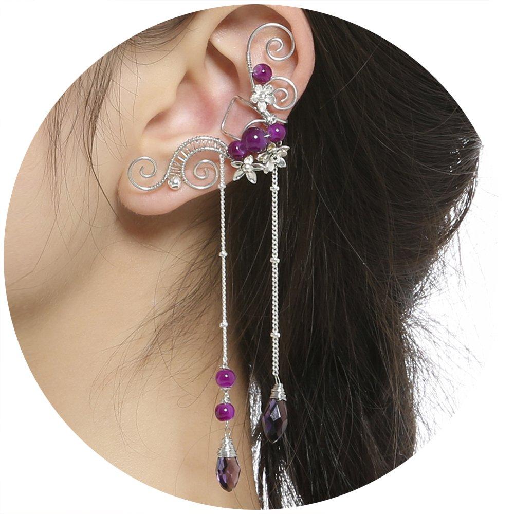 Aifeer Elf Elven Ear Cuffs, Non-Pierced Filigree Wrap Earrings Ear Cuffs for Women Bridal Wedding Handcraft Flowers Jewelry Threader Tassel Chain (Purple)