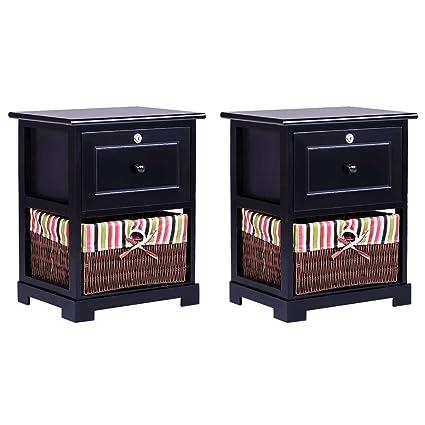 2 PCS 2 Tier Nightstand 1 Drawer Bedside End Table Organizer Wood W//Basket Black