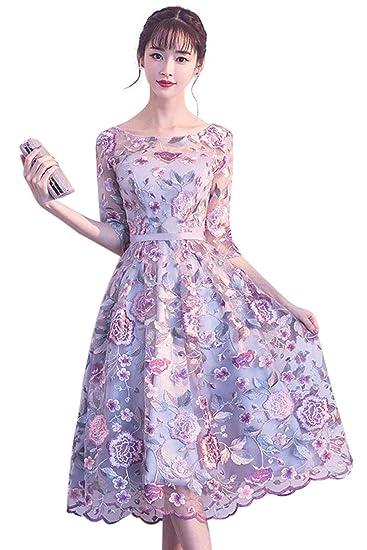 [ディープアイズ] パーティードレス ミモレ丈 ワンピース 花柄刺繍 オーガンジー ラベンダー 透け感 上品 エレガント お呼ばれ