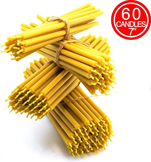 Churches KESIS 40 Candles Made from Natural Wax Beeswax Candles for Candlelit Dinners Festive Cakes and Home Decor Length 6.7 inches, Diameter About 0.2 inches