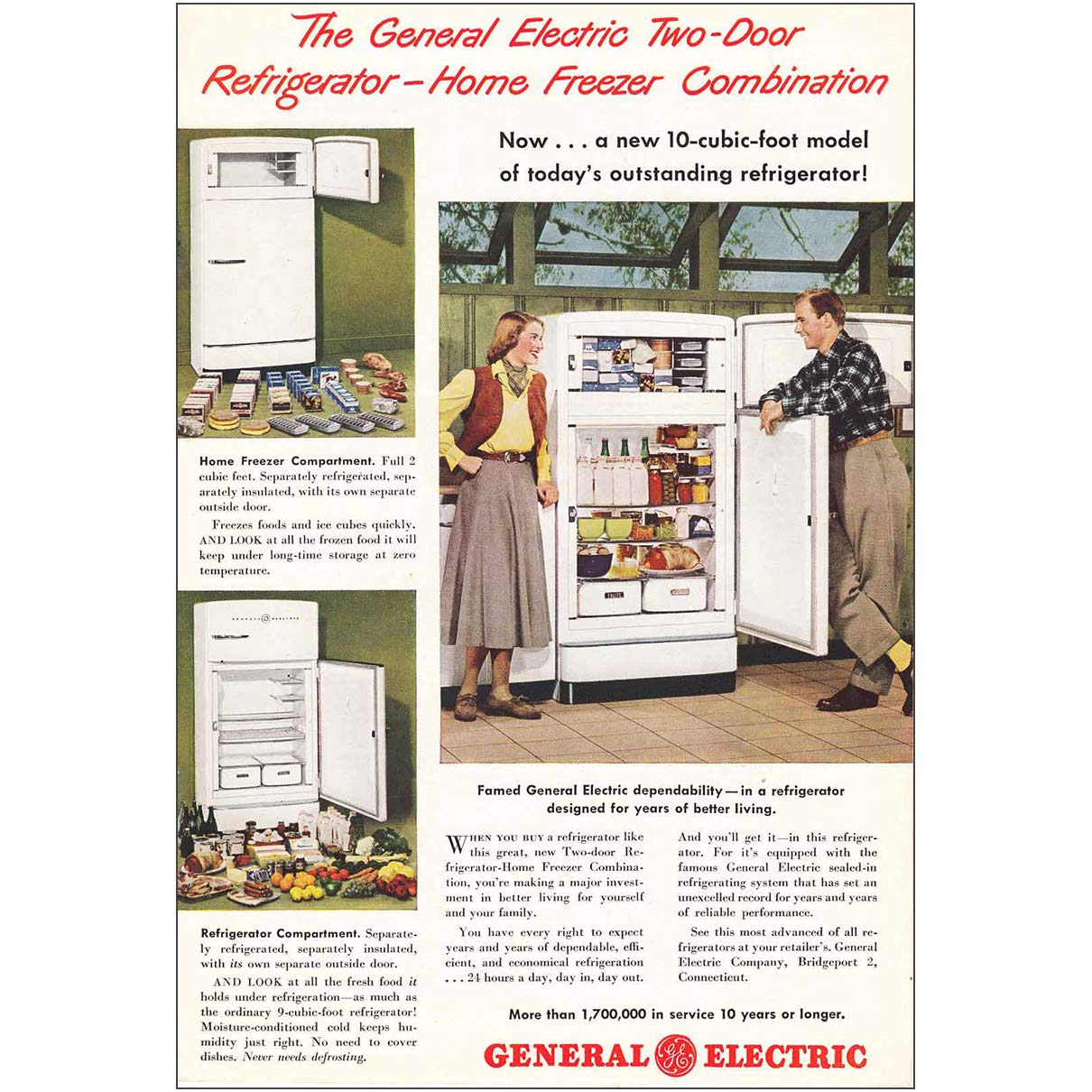 1948 General Electric Refrigerator: 10 Cubic Foot, General Electric Print Ad