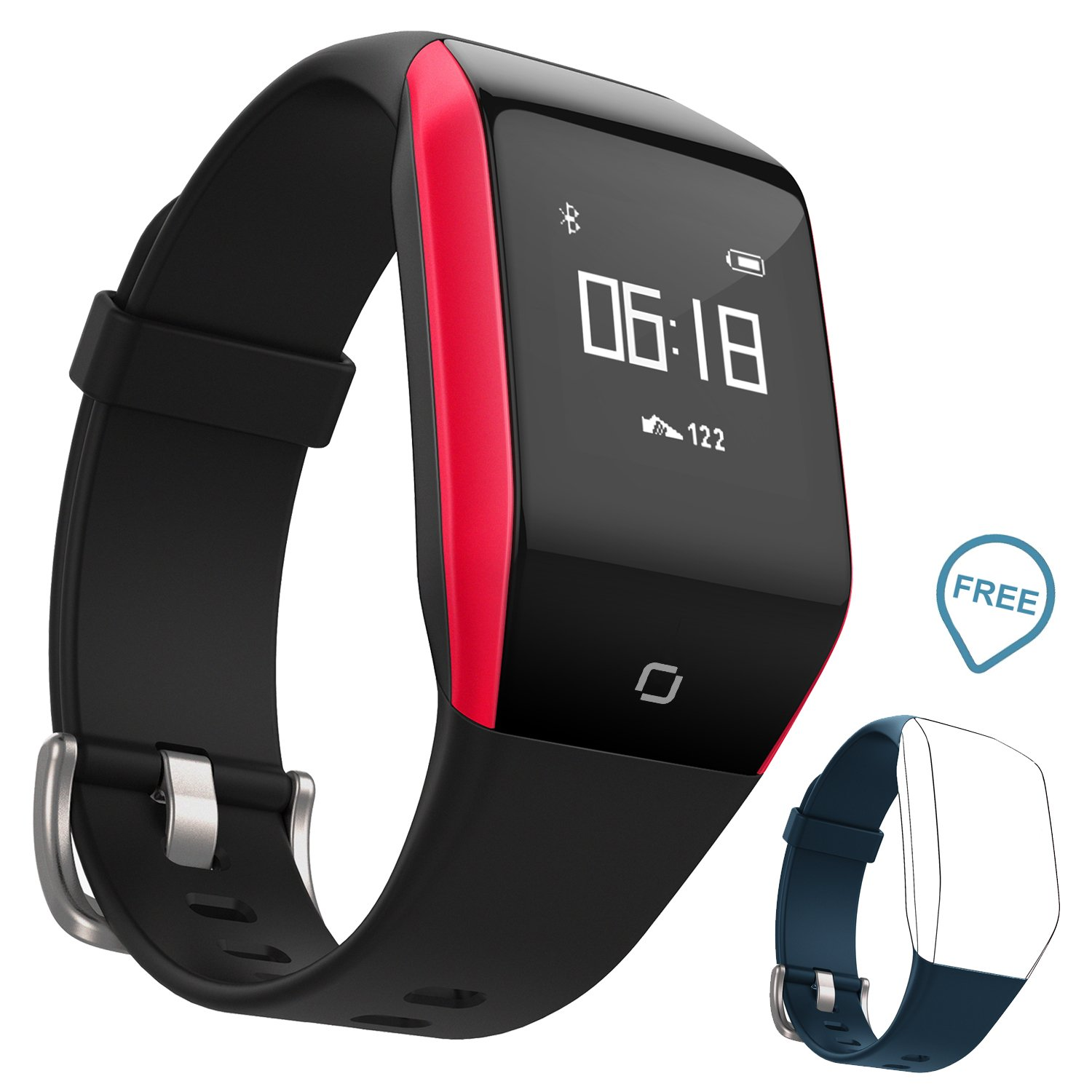 Coffea Fitness Tracker, Activity Tracker Watch with Heart Rate Monitor, 5 ATM IP68 Waterproof Smart Bracelet with Music Player, Pedometer Calorie Counter for Android and iOS Smartphone