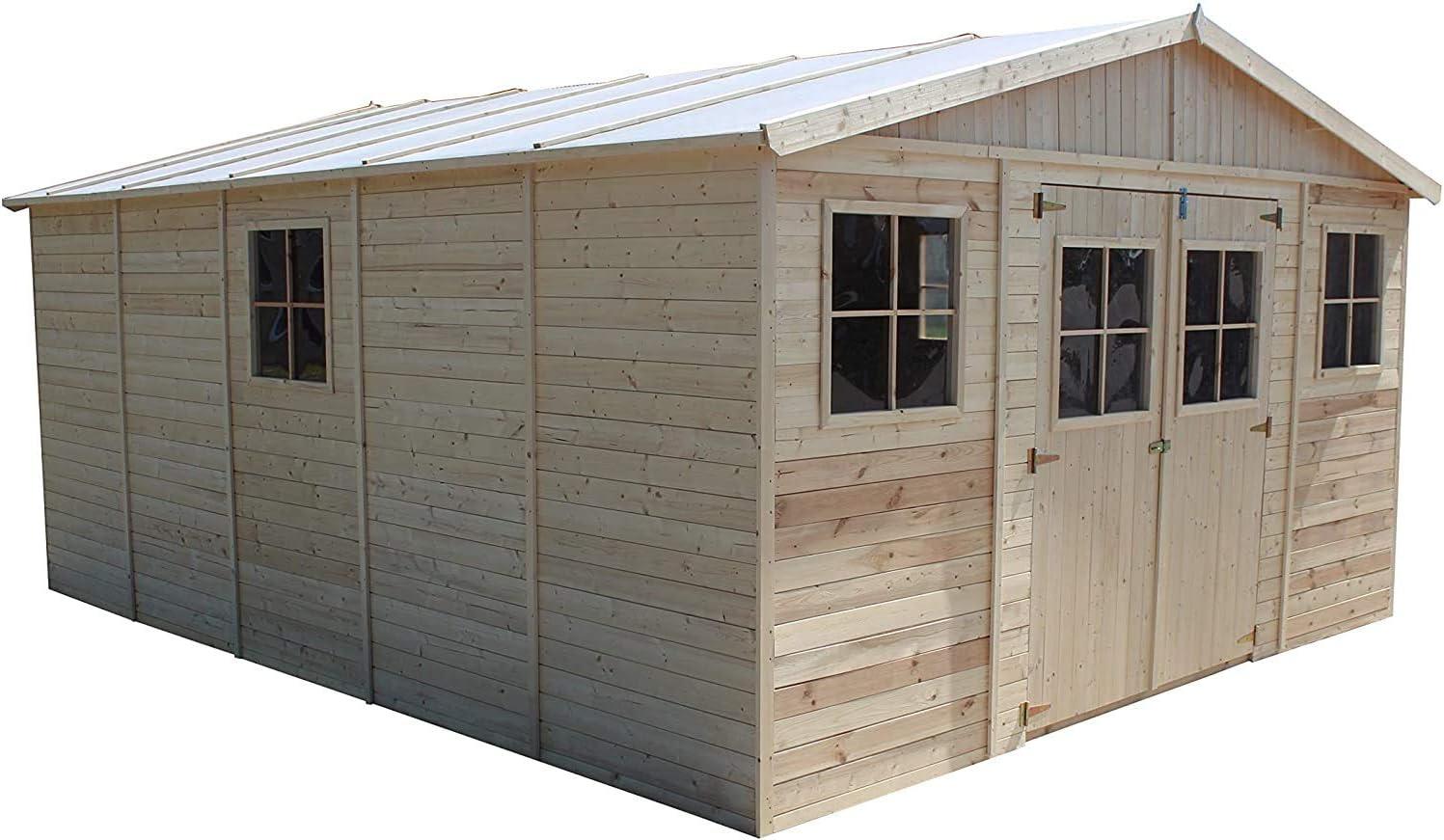 TIMBELA Abri de Jardin en Bois Naturel - Stockage extérieur avec fenêtres- H246x518x420 cm/20 m²-Hangar en Bois Naturel - Atelier Rangement Outils et vélos M333