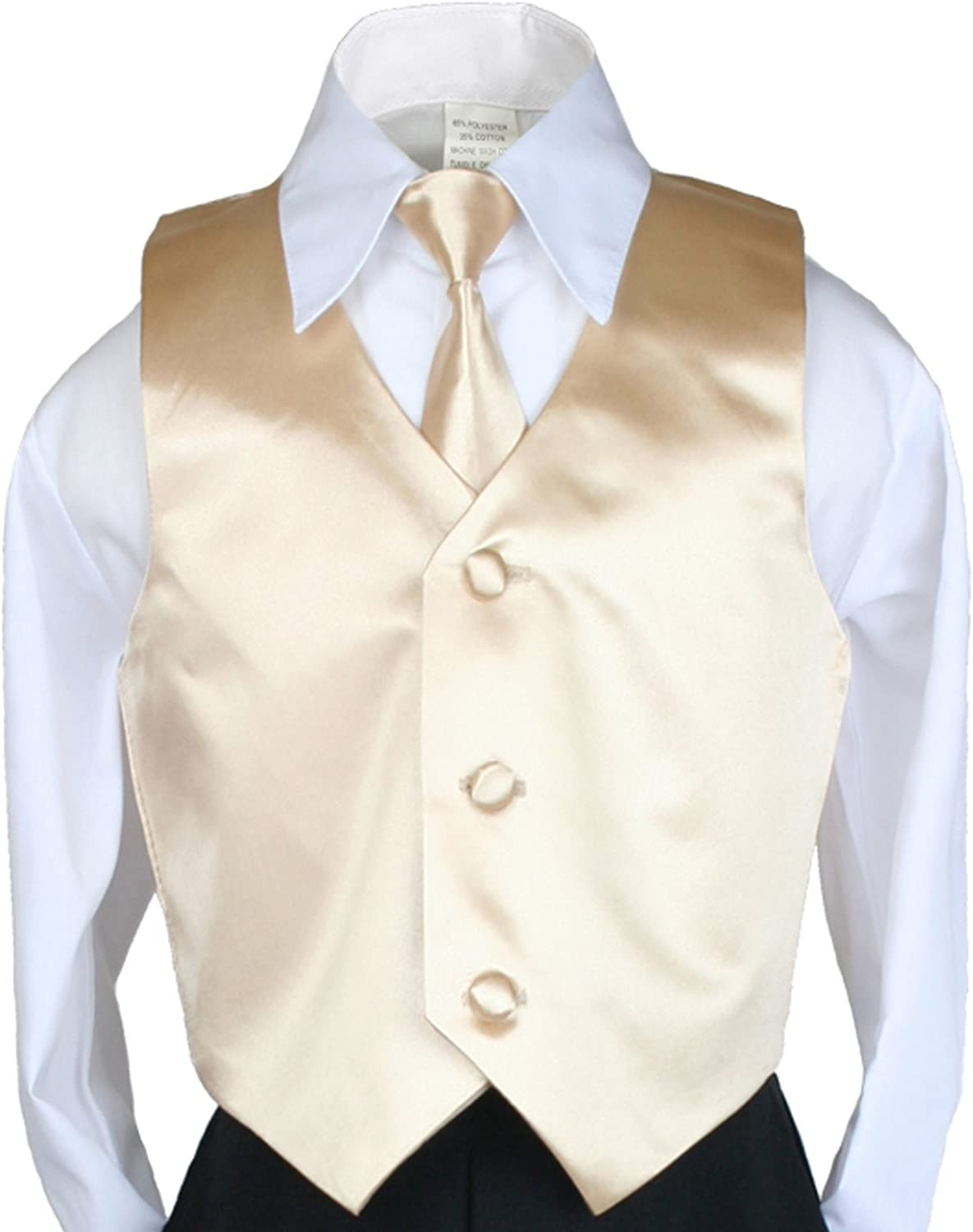 Unotux 2pc Boys Satin Champagne Vest and Necktie Sets from Baby to Teen