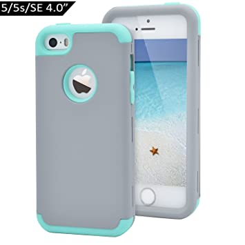 Dailylux Funda iPhone 5s Funda iPhone SE Funda iPhone 5 Carcasa Protector TPU + PC Resistente a los arañazos para el iPhone 5S 5 SE -Gris