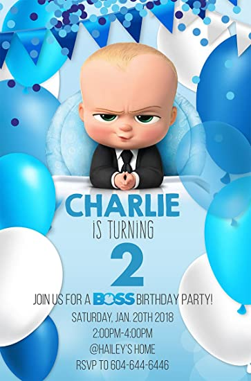 Amazon Set 10 Peronalized Boss Baby Birthday Party Invitation