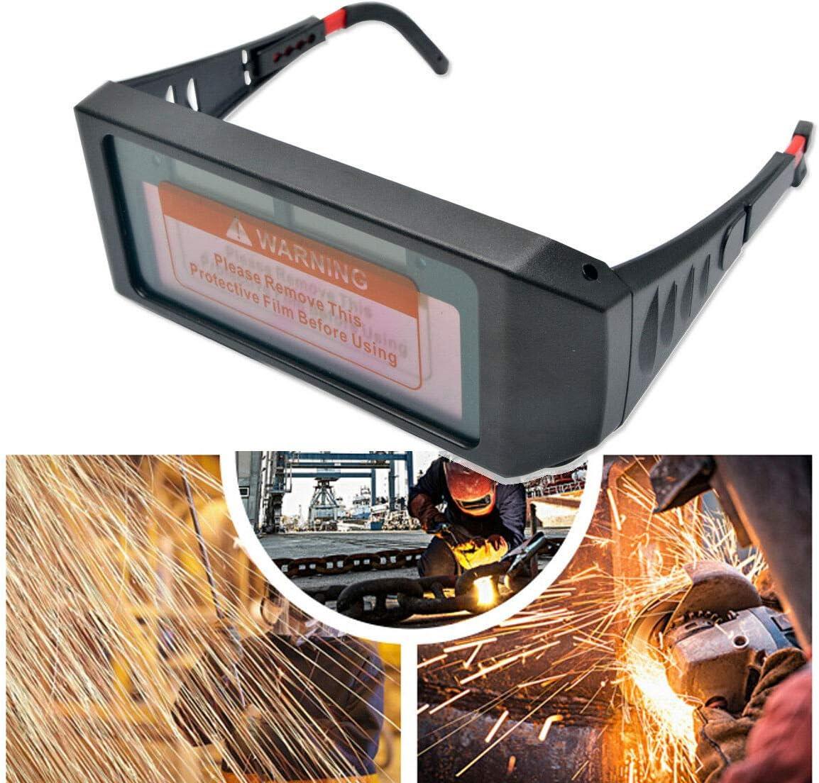 Gafas de Seguridad m/áscara de Soldadura con 2 Protectores de Pantalla de PC reemplazables Gafas de Soldadura con energ/ía Solar para oscurecimiento autom/ático de LCD MASO