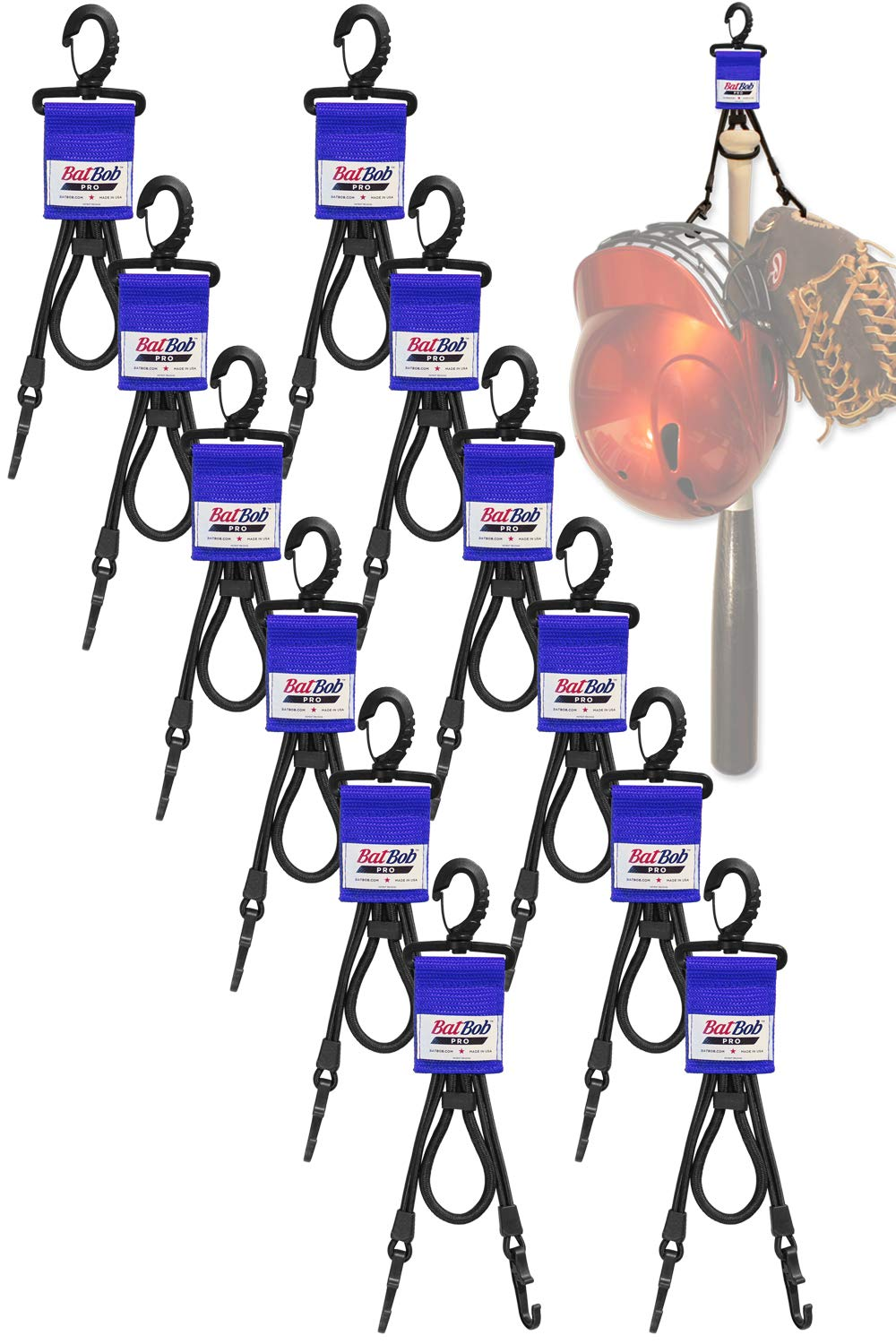 BatBob (Team 12 pack) Dugout Gear Hanger - The Dugout Organizer - For Baseball and Softball to hold bats, helmets and gloves (Blue) by BatBob