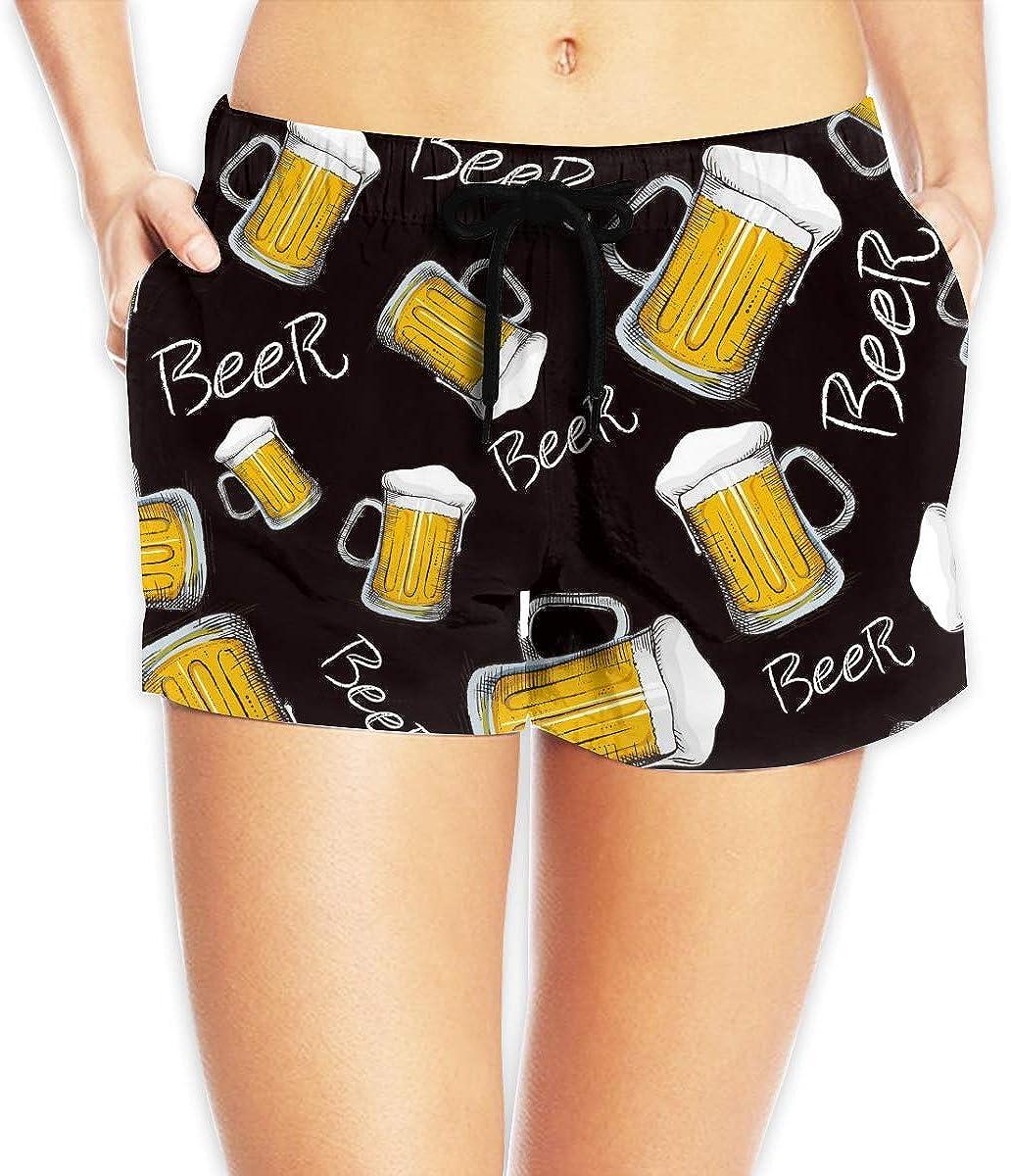 Redsheep Jarra de Cerveza Shorts de Playa para Mujer Shorts de Playa con bañador de Bolsillo