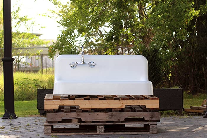 Vintage 1930s Refinished Farm Sink 42u0026quot; Cast Iron Drainboard High Back  Apron Porcelain Kitchen Sink