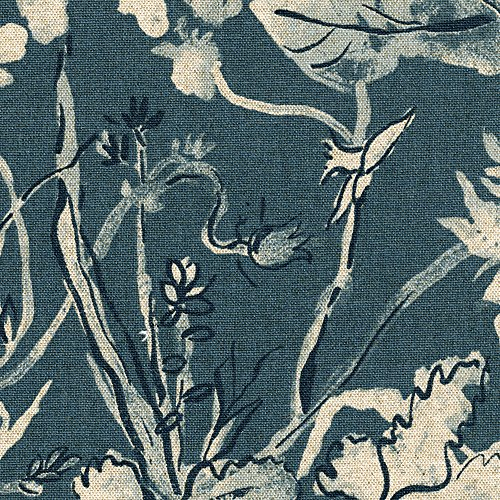 Garden Party Indigo Floral Blue Tailored Valance Lined Cotton - Garden Tailored Valance