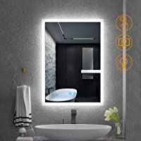 Quavikey LED Illuminated Bathroom Mirrors Wall Mounted With Lights And Demister Pad Aluminum Bathroom Vanity Mirror 500x700 For Shaving Makeup Cosmetic