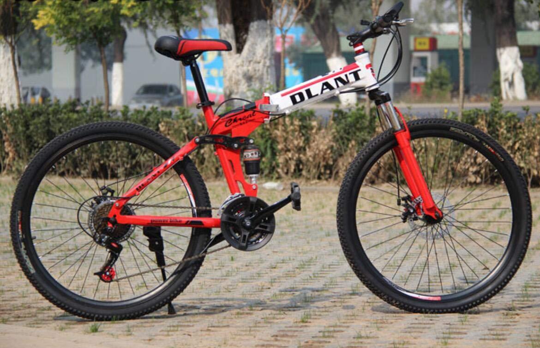 tienda hace compras y ventas rojoHycy 26 Pulgadas De De De Bicicleta Plegable 21 Velocidad De Doble Amortiguación Velocidad De Freno De Mariposa Bicicleta Bicicleta,azul  Sin impuestos