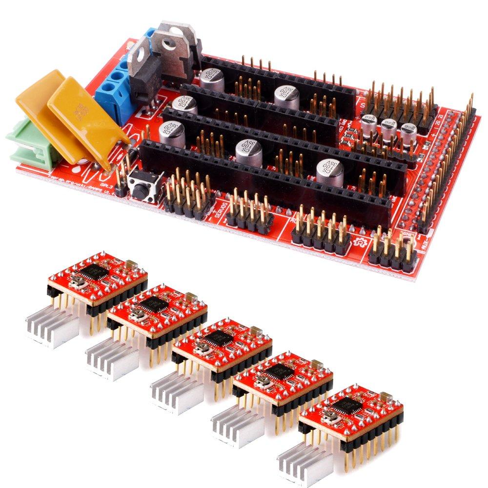 Longruner 3D Printer Kit RAMPS 1.4 Controller Board + 5pcs A4988 StepStick Stepper Motor Driver Module + Heat Sink for 3D Printer Reprap, CNC Machine or Robotics