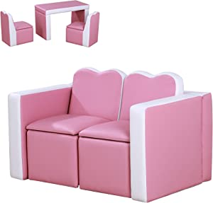 Qaba Kids 2-in-1 Multi-Functional Play Table & 2 Chair Set with Couch Storage Box for 3-6 Year Olds, Pink
