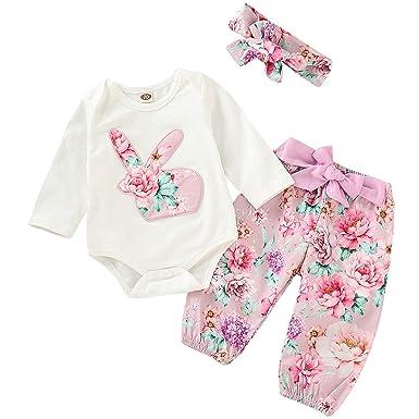UK Newborn Baby Girls Bunny Romper Bodysuit Jumpsuit Floral Pants 3Pcs Outfits