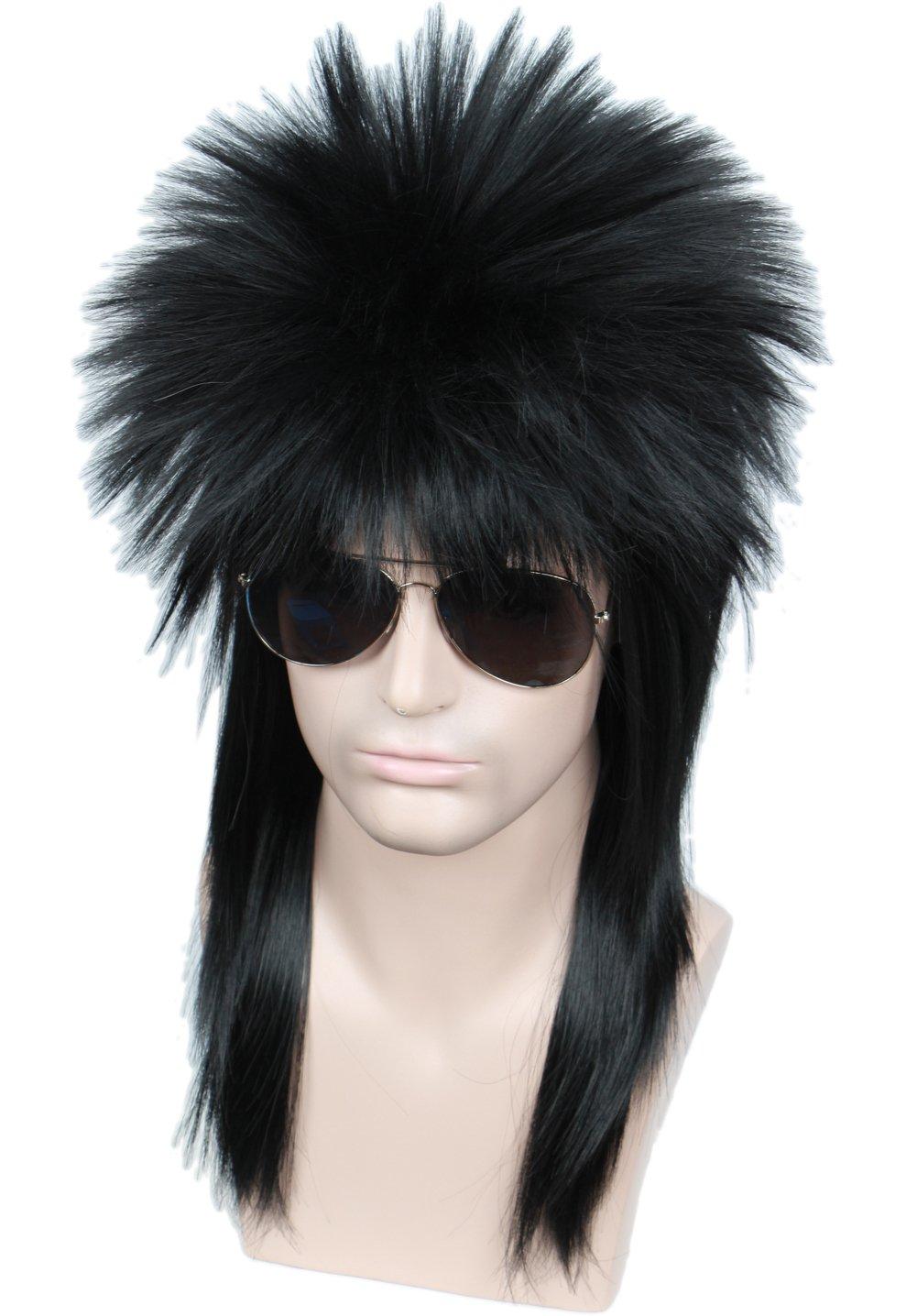 Linfairy 80s Heavy Metal Halloween Curly Wigs Fancy Dress Wig (black curly)