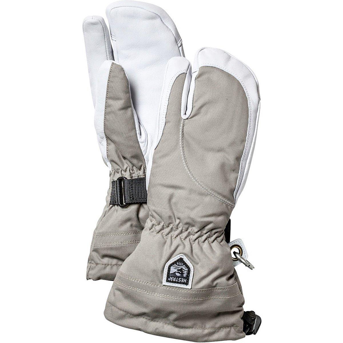 Hestra Women's Heli 3-Finger Gloves - Khaki/Off White - 5