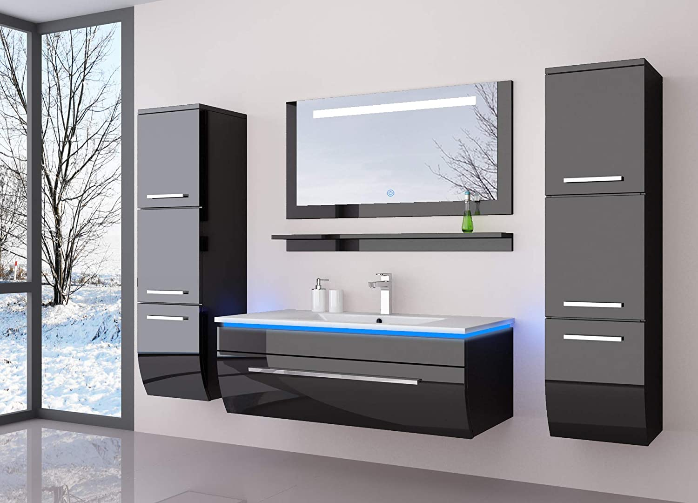 HOMELINE Badmöbelset 7 cm Schwarz vormontiert Badezimmermöbel  Waschbeckenschrank mit waschtisch Spiegel Zwei Hochschränken mit LED  Hochglanz Badmöbe