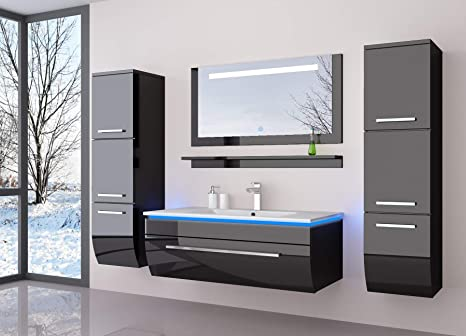 Badmöbel Set Badezimmermöbel Komplett Set Waschbeckenschrank mit Waschtisch  Spiegel 2 hochschränke mit LED Hochglanz Fronten Schwarz 70 cm Vormontiert  ...