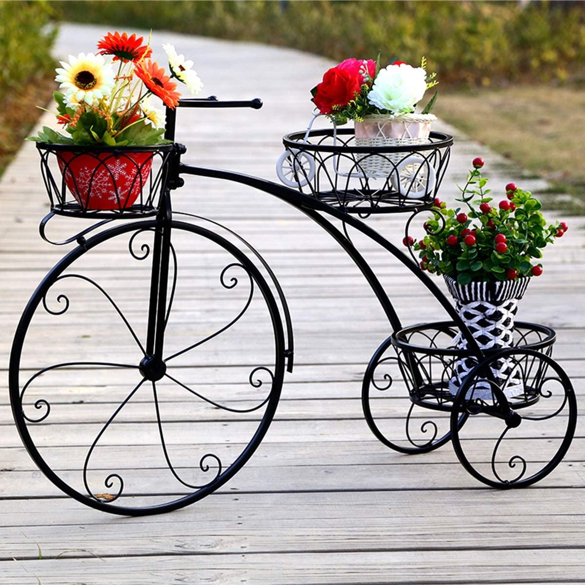 GLXQIJ 3 gradas de soporte de flores Tiesto Jardín moderno decorativo Patio Pequeño bicicletas soporte de exhibición con capacidad para 3 Tiesto para Negro