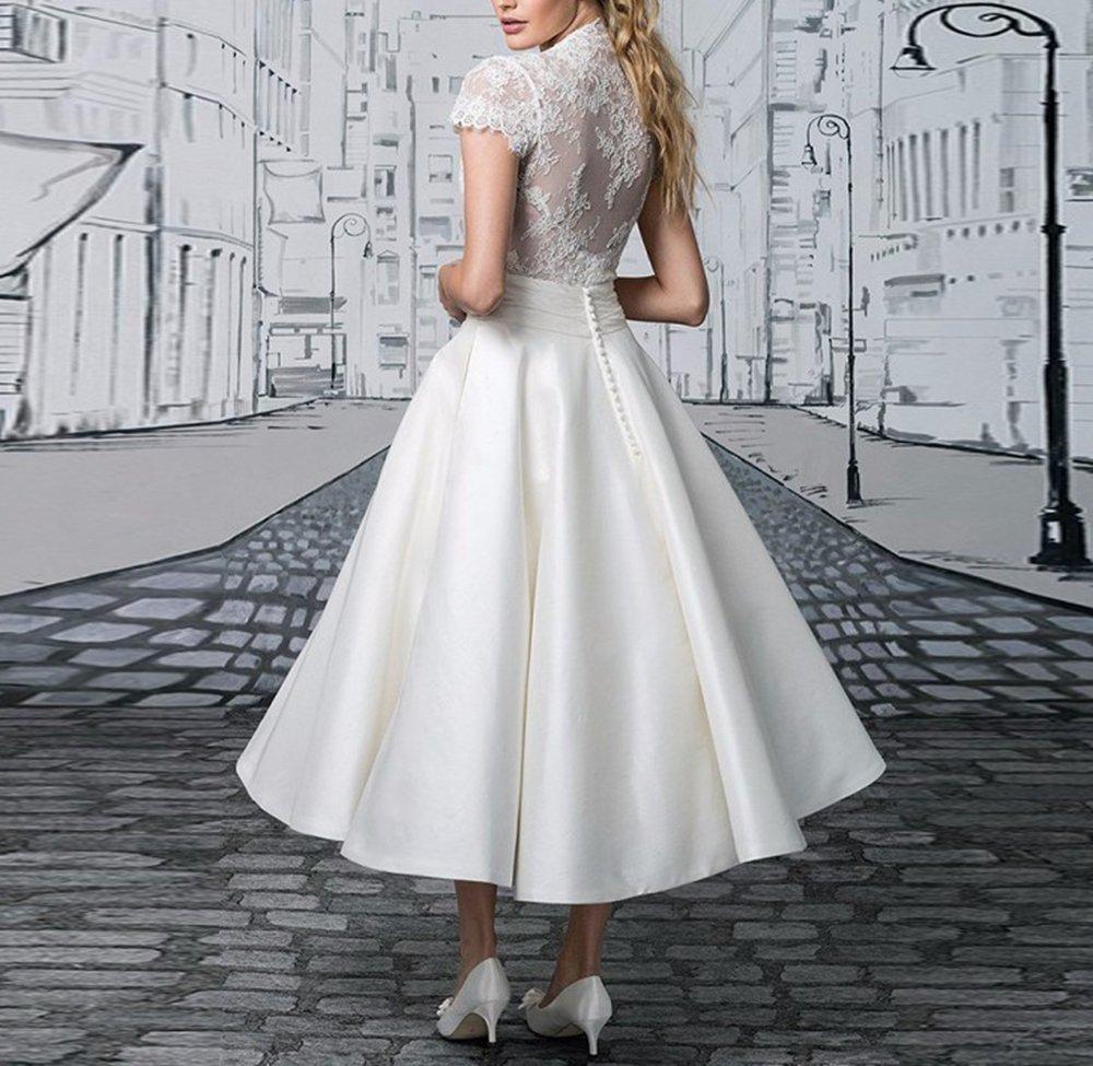 DreHouse Women\'s Vintage 1950s Short Wedding Dresses Plus Size Bridal Gowns  2017 Ivory