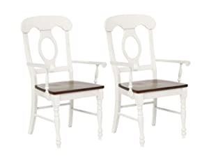 Sunset Trading Andrews Arm Chair, Set of 2, Distressed Antique White and Chestnut