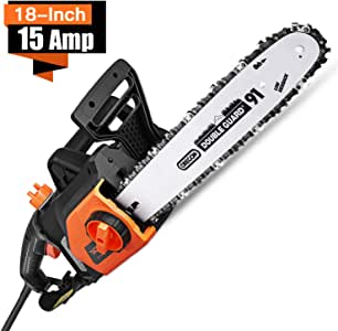 TACKLIFE Electric Chainsaw, 18-Inch 15-Amp Chainsaw Corded, Chain Speed 13m/s, Copper Motor, Lightweight, Auto Oiling, Tool-Free Chain Tensioning, Protecting Case Included - GCS15A