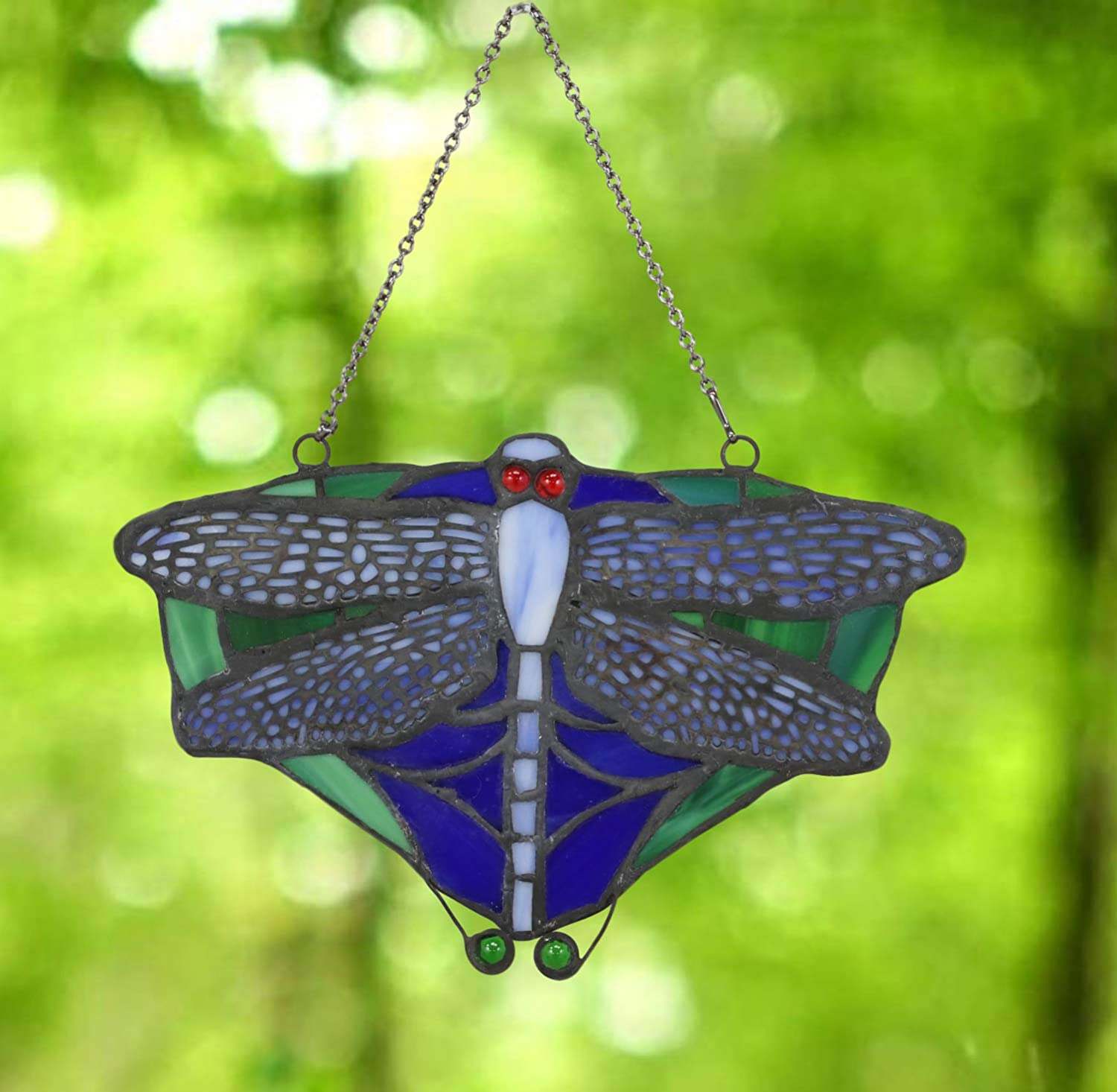 Ebros Louis Comfort Tiffany 7 25 Wide Dragonfly Insect Suncatcher Stained Glass Art Panel Wall Or Window Hanging Decor Sun Catcher Plaque Furniture Decor